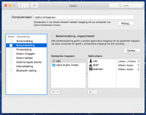 scherm en bestanden delen mac