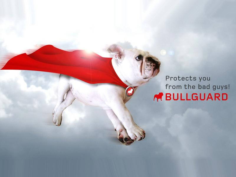 dog with cape, (bullguard mascot)