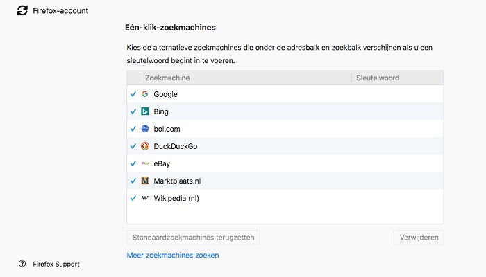 Zoekmachine selecteren in Firefox