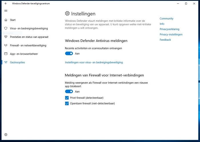 Instellingen screenshot