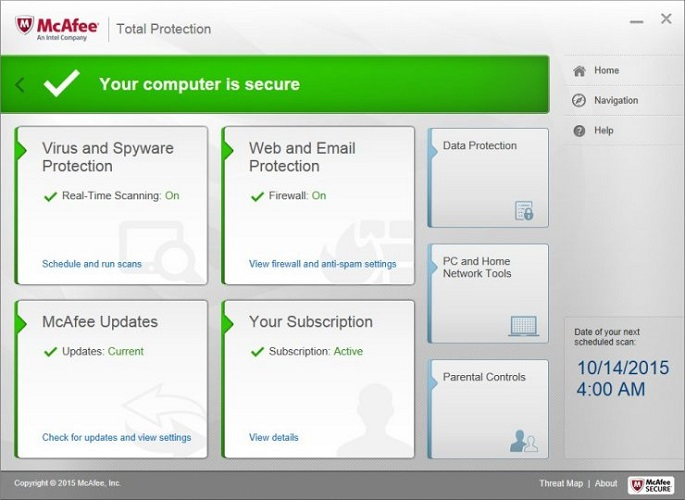 Menu van mcafee total protection