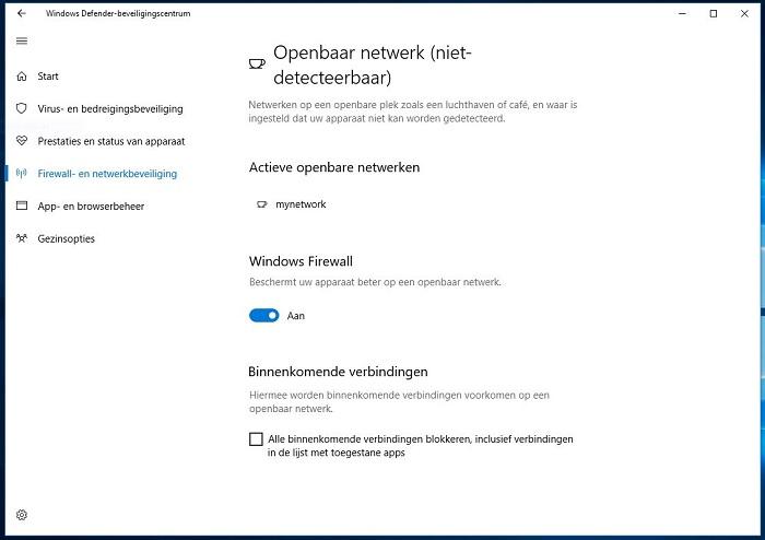 Windodws 10 openbaar netwerk