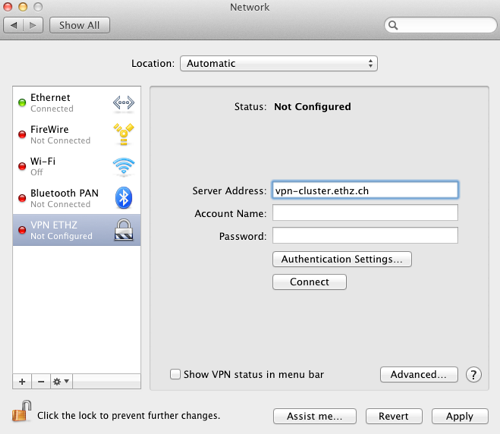 Vpn instellingen in MAC OS